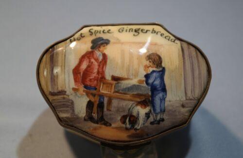 "Bilston & Battersea English Enamel Snuff/Snuff Box ""Hot Spice Gingerbread"""