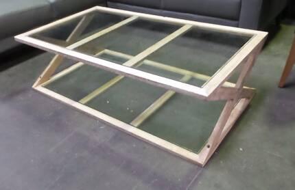 GLASS CROSS COFFEE TABLE WHITE WASH    1400 L x  800 W x  420 H