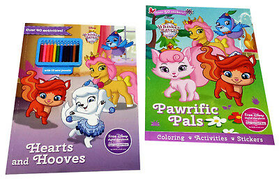 Disney Whisker Haven Palace Pets Kids Coloring Activity Sticker Books Set of 2
