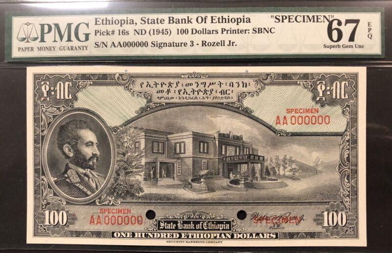 Ethiopia Banknote Specimen. P 16s. EPQ  Grade 67
