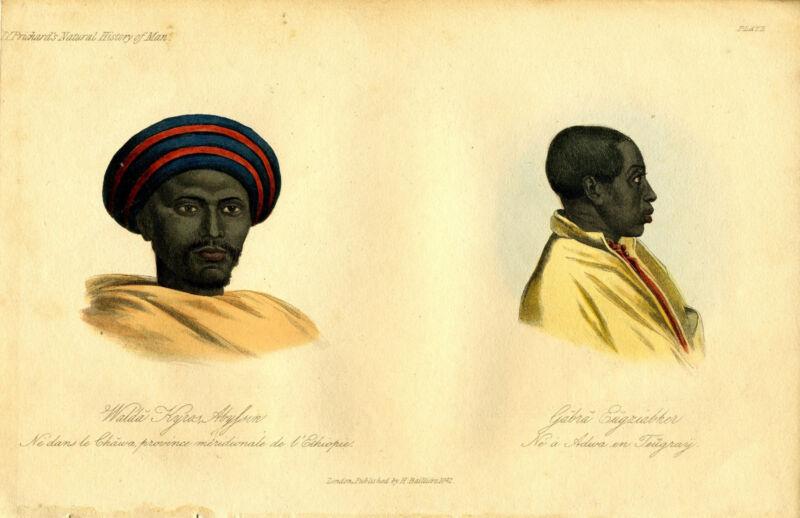 "1842 Genuine Antique Portrait ""..Ethiopia & ...Teugray"". Prichard Nat. Hist. Man"