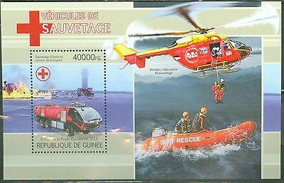 GUINEA 2013 RED CROSS RESCUE VEHICLES SOUVENIR SHEET MINT NH