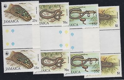 JAMAICA STAMPS #591-594  --- SNAKES  GUTTER PAIR - WWF SET  -  MINT