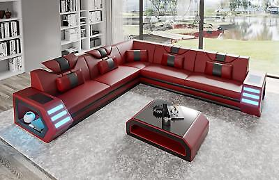 Leder Sitzgarnitur Sofa (Ledersofa Ecksofa Eckcouch Polster Sitz Ecke Garnitur Wohnlandschaft B1 Rot)