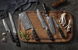 KATSURA Japanese AUS 10 Damascus Steel 67 Layer Chef's Knife set, 7pcs