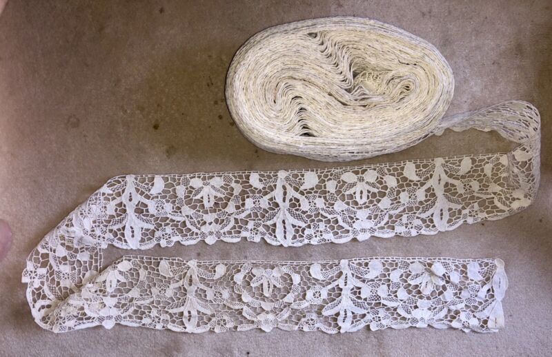 """29ydsx4.1/2""""Antique Hand Made Needle Lace Early 20thC MIN. 3 YARD PURCHASE- 1044"""