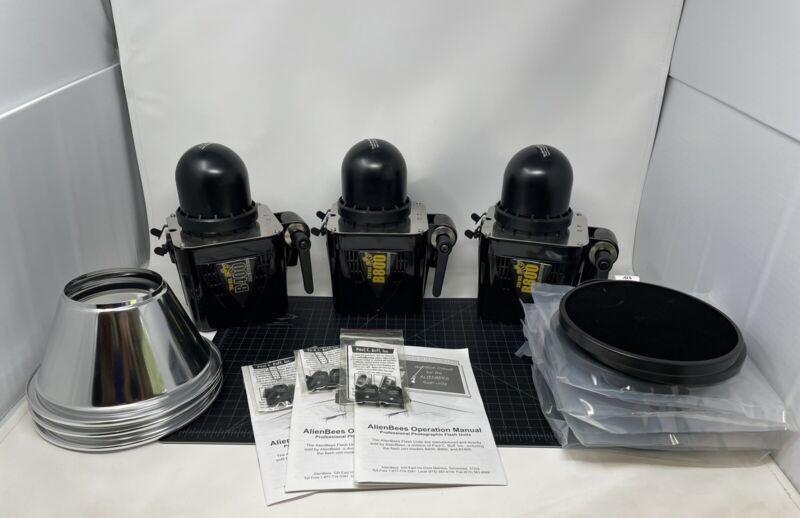 Paul C Buff AlienBees B800 B400 Flash Heads Reflectors Honeycomb Lot Set