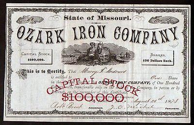 1873 St Louis Ozark Iron Company Antique ORIGINAL Beautiful Stock Certificate