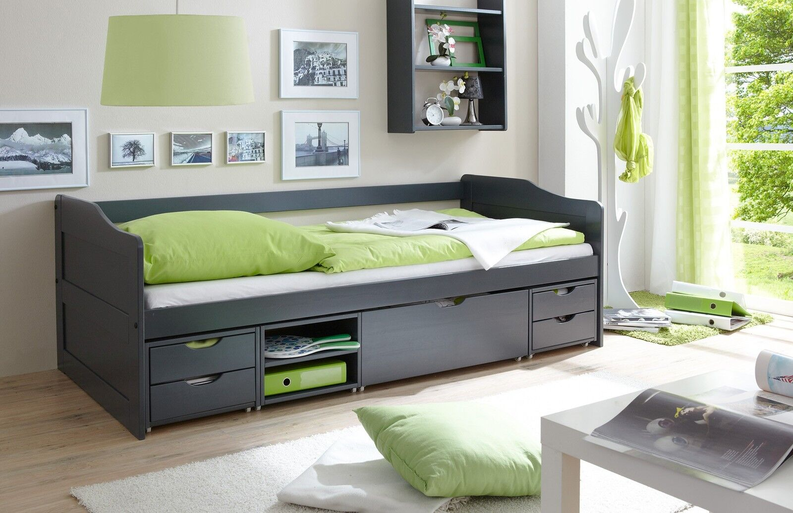 kojenbett 90x200 sofabett g stebett funktionsbett bett kinderbett massiv grau eur 372 90. Black Bedroom Furniture Sets. Home Design Ideas