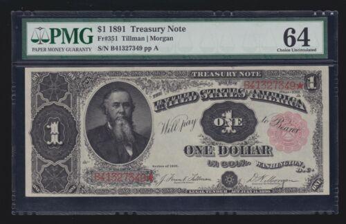 US 1891 $1 Treasury Note Plain Back FR 351 PMG 64 V Ch CU (349)