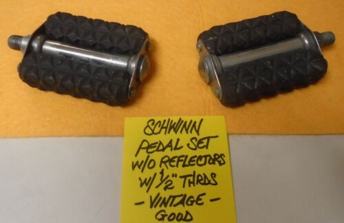 "Schwinn Pedals, w/o/Reflectors, w/1/2"" Threads, Vintage 1953 (Good Condition)"
