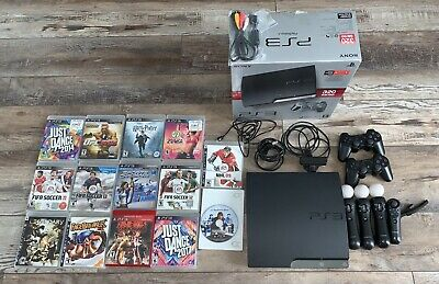 Sony PlayStation 3 Slim Uncharted 3 320GB Charcoal Black Console with Move