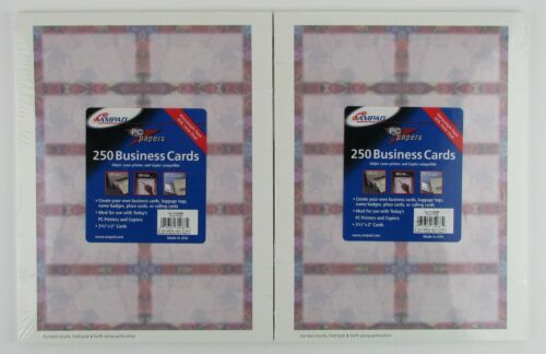 """2 Packs Of 250 Ampad """"Pink Floral"""" Business Cards (Item #  35288)"""