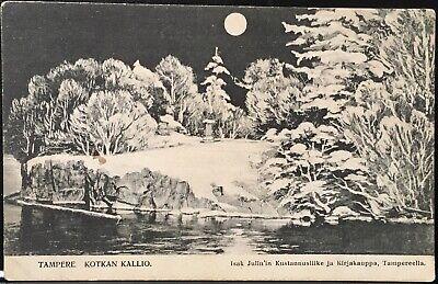 Finland ~ Tampere Kotkan Kallio ~ Artist Drawn Scene Moon Over Snowy Landscape