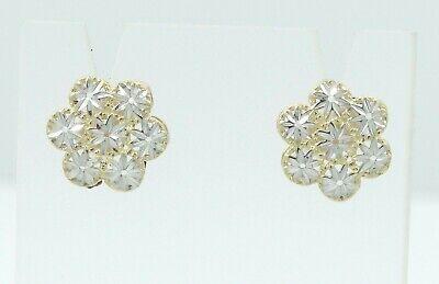 14K Yellow White Gold Flower Button Diamond Cut Stud Earrings 1.6g D1526-34 White Gold Button Earrings