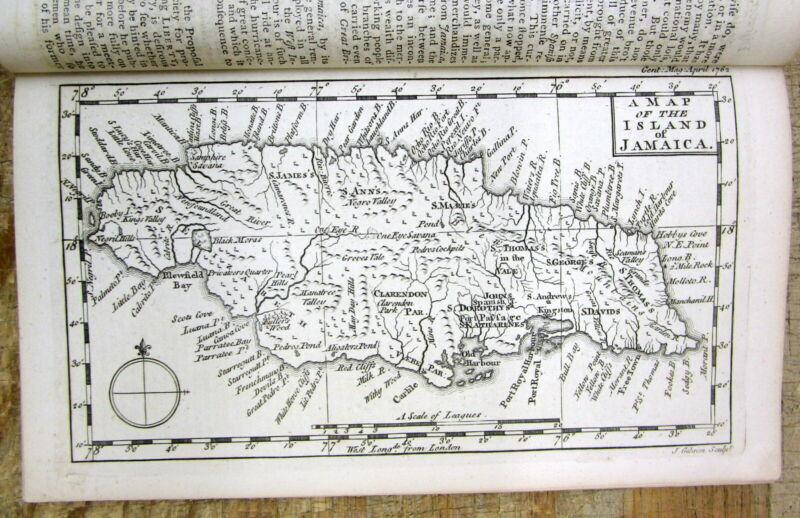 1762 news magazine w detailed MAP & descript of the Caribbean Island of JAMAICA