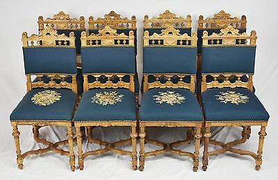 American Gothic Dining Set - Set of 8 Baker Jacobean or Gothic Walnut Dining Chairs Beautiful Carved Chairs