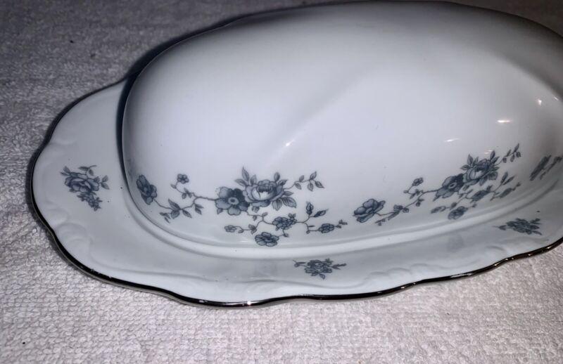 Vintage Johann Haviland Blue Garland Floral Butter Dish