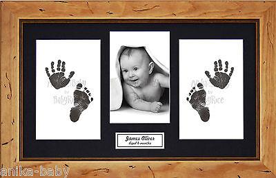 Neu Baby Junge Mädchen Taufe Andenken Geschenk Hand Fußabdrücke Set & Rustikal