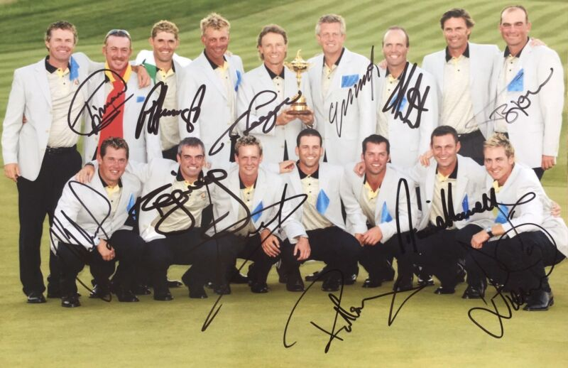 Ryder Cup 2004 signed by 12 European Players 12x8 photo UACC RACC Trusted AFTAL