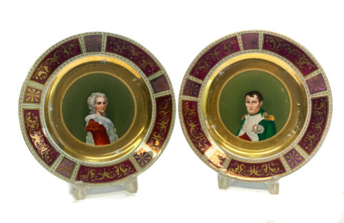 Pair Royal Vienna Portrait Cabinet Plates of Napoleon and Noble Beauty