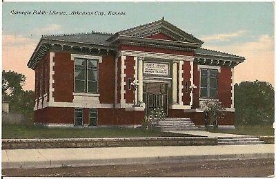 Carnegie Public Library in Arkansas City KS Postcard 1910