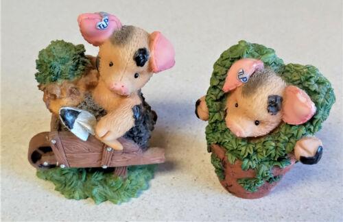 Lot 2 Vintage Enesco This Little Piggy Gardening Piglets 469092