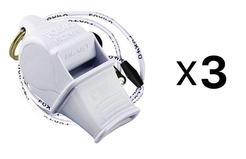 Fox 40 Sonik Blast CMG 2-Chamber Pealess Whistle w/ Lanyard, White (Pack of 3)
