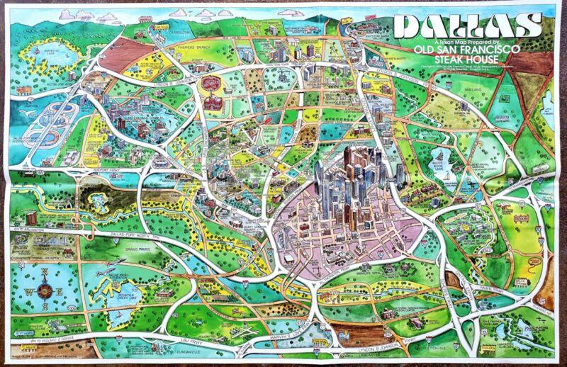1986 Dallas Texas Pictorial View Map South Fork Ranch Grapevine White Rock Lake