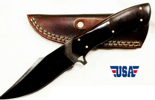 Custom Hand Forged  Bearing Steel Hunting Knife With Leather Sheath- US Seller