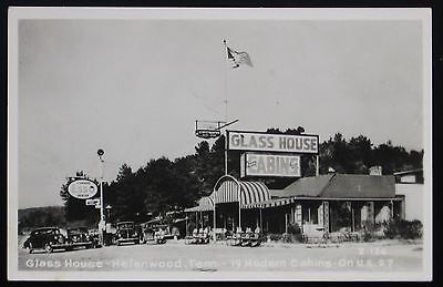 1940's 1950's RPPC Postcard ~ ESSO Gas Station, Greyhound Rest Stop, GLASS HOUSE