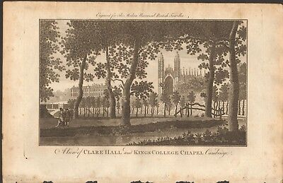 1779 ca ANTIQUE PRINT- CAMBRIDGE - VIEW, CLARE COLLEGE AND KINGS COLLEGE CHAPEL