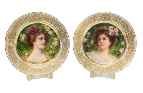 Pair Royal Vienna Austria Hand Painted Porcelain Cabinet Plates, circa 1900