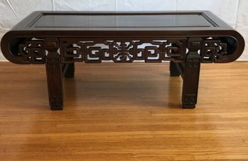 Chinese Coffee Table. Pierced and Carved Rosewood. Qing 19th Century