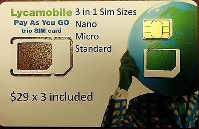 LYCAMOBILE PRELOADED 3 in 1 SIM W/ 3 MONTHS OF THE $29 PLAN INCLUDED