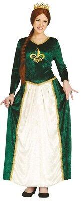 Damen-Grün Mittelalterliche Königin Historisch Karneval Film Kostüm Kleid Outfit