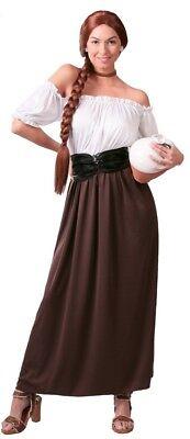 Damen Lang Braun Mittelalterlich Gastwirt Weihnachten Kostüm Kleid Outfit (Alte Dame Outfits)