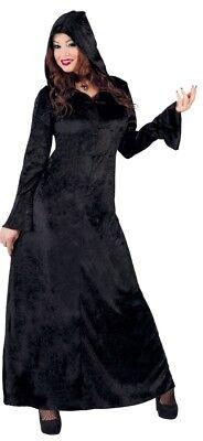 t Kapuze Zauberin Halloween Horror Kostüm Kleid Outfit (Halloween-kostüme Mit Langen Schwarzen Kleid)