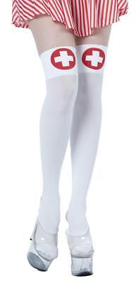 Infermiera Calze Donna Costume Autoreggenti Coscia Alte Bianco Rosso Sexy