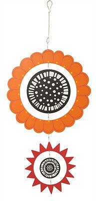 Kaleidoscope Orange and Fuchsia Mobile Garden Kinetic Wind Spinner Wheel 13x26