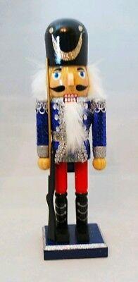 Soldier Nutcracker Silver Blue Wood Decor Christmas 10