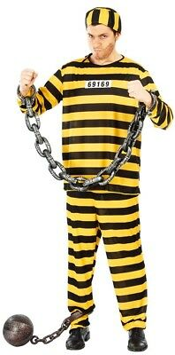 Men's Yellow Prisoner Jail Criminal Halloween Fancy Dress Costume Outfit M & L