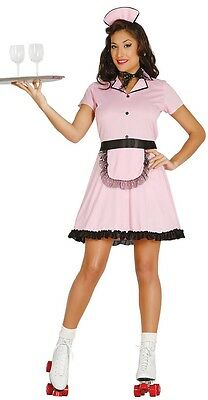 Ladies 50s 1950s Roller Waitress TV Film Hen Do Night Fancy Dress Costume Outfit - 1950 Waitress Costume