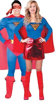 Couples Ladies AND Mens Superhero Comic Book Film Fancy Dress Costumes Outfits - Couples Superhero Costumes
