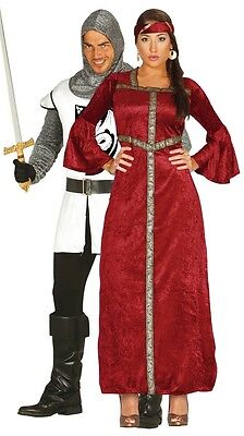 Princess Couple Costumes (Couples Ladies & Mens Medieval Knight Princess Fancy Dress Costumes)