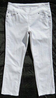 JAG JEANS Bright White Stretch Denim Pull On Slim Leg MALIA US 14 (16) Short EUC