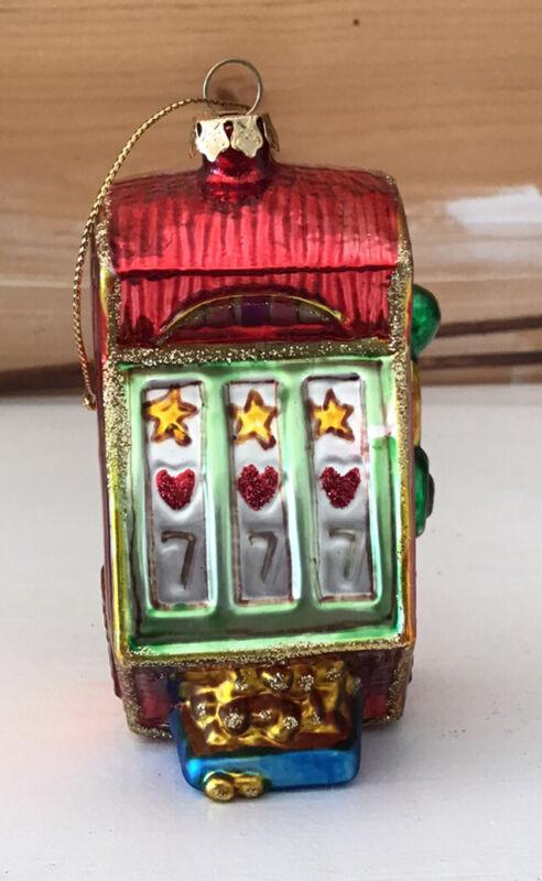 Glass SLOT MACHINE Christmas Ornament
