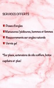 Services pose d'ongles, manucures et pédicures