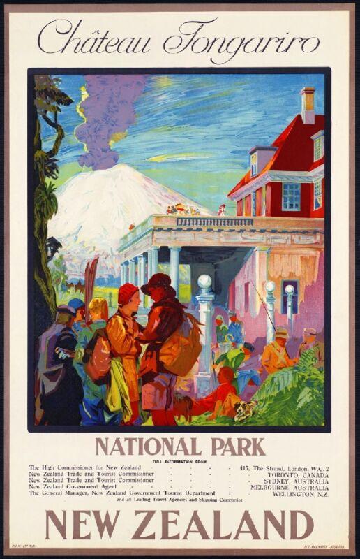Chateau Tongariro National Park New Zealand Vintage Travel Advertisement Poster