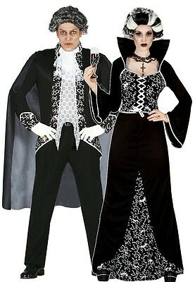 Ladies AND Mens Couples Black/White Royal Vampire Halloween Fancy Dress Costumes (Black Man White Woman Halloween Costumes)